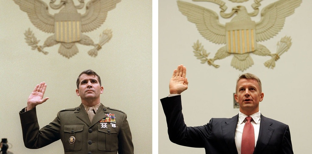 Oliver North testifying before Congress in 1986, and Erik Prince testifying before the House Committee on Oversight and Government Reform in 2007, in Washington, D.C. Click to enlarge