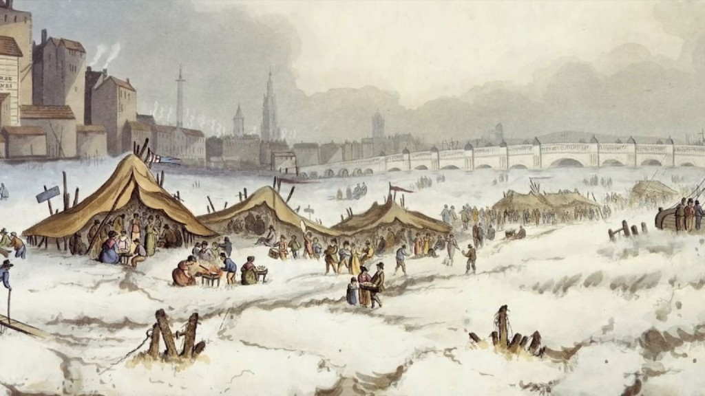The Thames last froze over in the 17th century when fairs were held on the frozen river. Click to enlarge