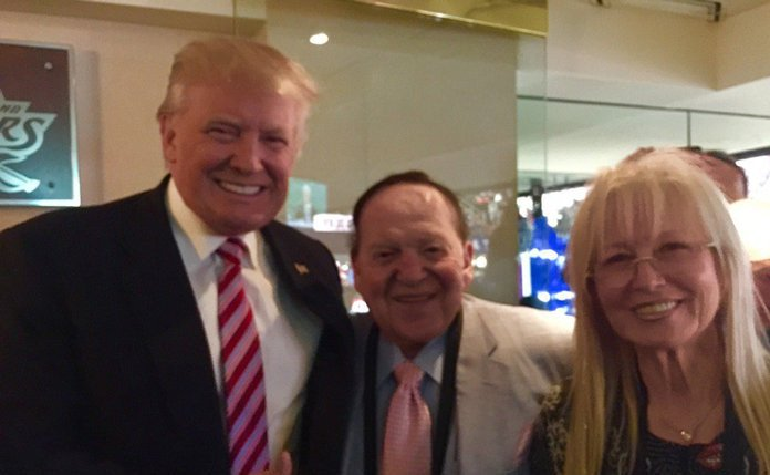 Trump, Sheldon Adelson and his wife Miriam. Click to enlarge