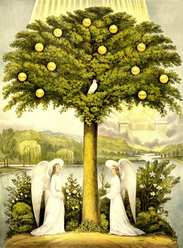 A 19th-century painting depicting the tree of life in Eden guarded by two cherubims. Click to enlarge
