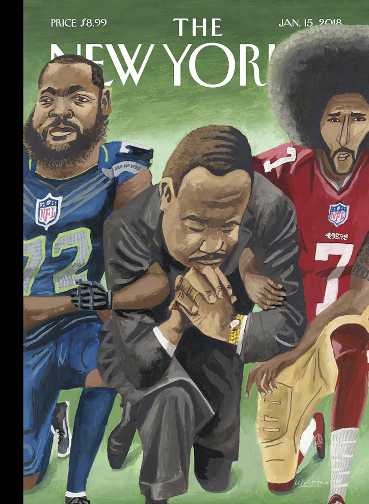 Jewish owned and operated NewYorker portrays paid Communist Party instigator Martin Luther King arm-in-arm with multimillionaire players protesting the plight of Black Americans. Click to enlarge