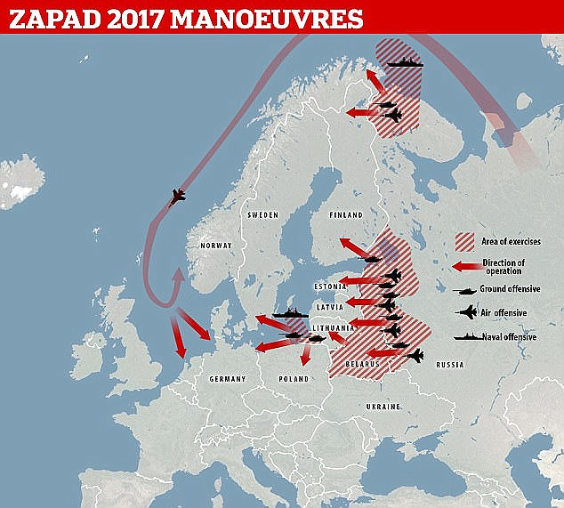 Russia simulated going to war against NATO, bombing Germany and invading Baltic states during its 'West 2017' military exercises. Click to enlarge