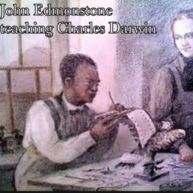 Darwin in 1826, age 18, with ex-slave John Edmonstone. Click to enlarge