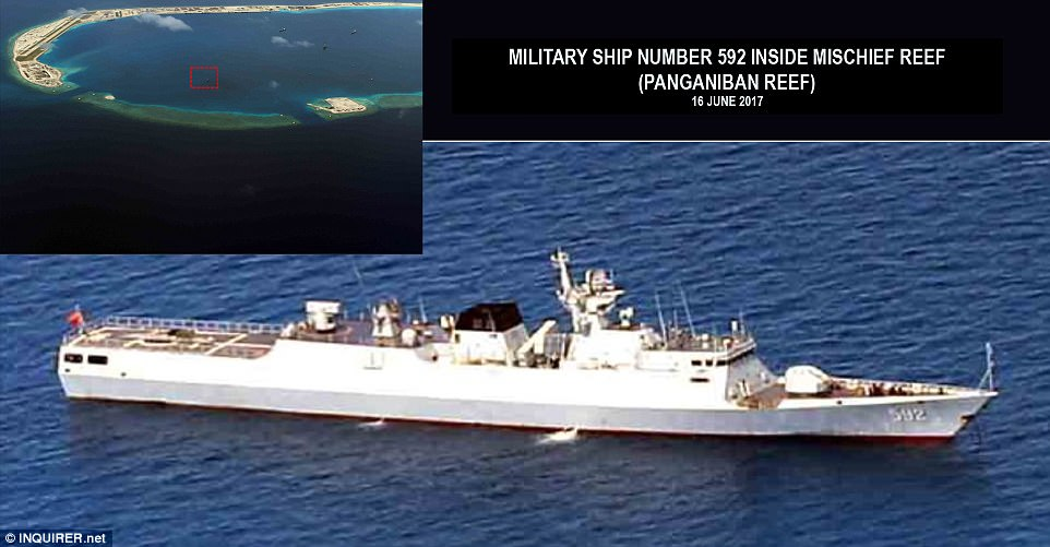 One of the fortresses is situated on Panganiban, a reef which a United Nations-backed court has previously ruled belongs to the Philippines, it is reported. Pictured: a Chinese missile frigate. Click to enlarge