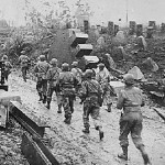 US troops advance into Germany during WWII