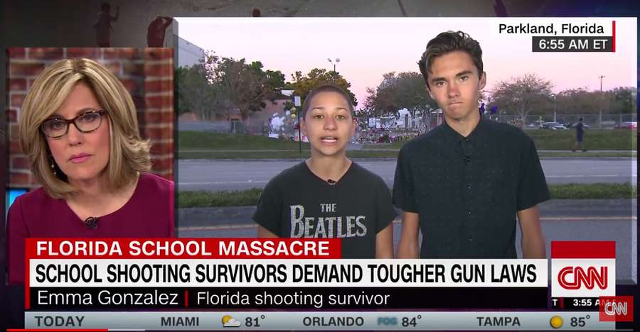 Emma Gonzalez and David Hogg, students at Marjory Stoneman Douglas High School, appear on CNN. Click to enlarge