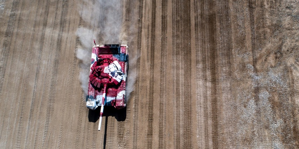 Iran's T-72B3 tank competes in a relay race during the Tank Biathlon semifinal event as part of the 2017 International Army Games, at Alabino shooting range on Aug. 10, 2017. Click to enlarge