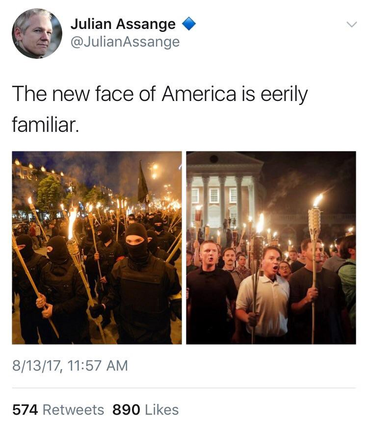 "Julian Assange compared Ukraine's fascist torch marches with the ""Unite the Right"" rally in Charlottesville. Click to enlarge"