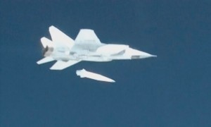 A still from a Russian government video shows the Kinzhal missile detaching from a MiG-31 aircraft. Click to enlarge