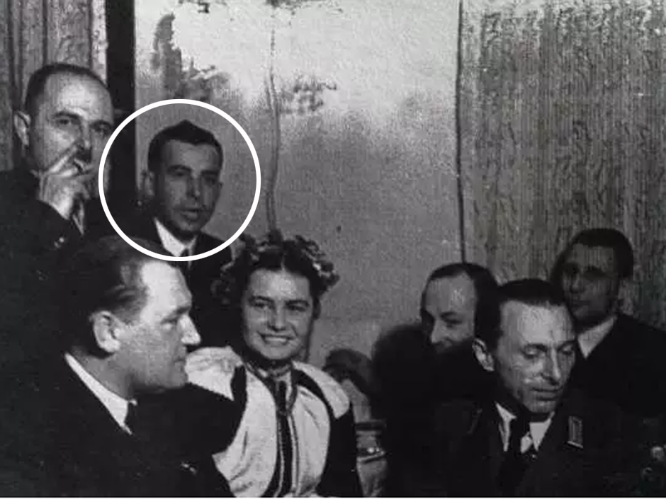 Michael Chomiak (circled), grandfather of Canadian Foreign Minister Chrystia Freeland at a party with Nazi propagandist Emil Gassner (bottom right). Click to enlarge
