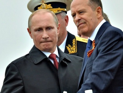 Vladimir Putin (President of the Russian Federation) and General Alexander Bortnikov (Director of Russian Counter-Intelligence - FSB)