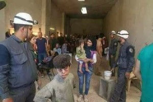 White Helmets stage a 'chemical weapons' attack. Click to enlarge