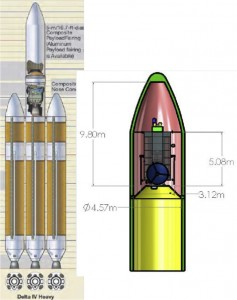 The HAMMER spacecraft (right) and launch rocket (left). Click to enlarge