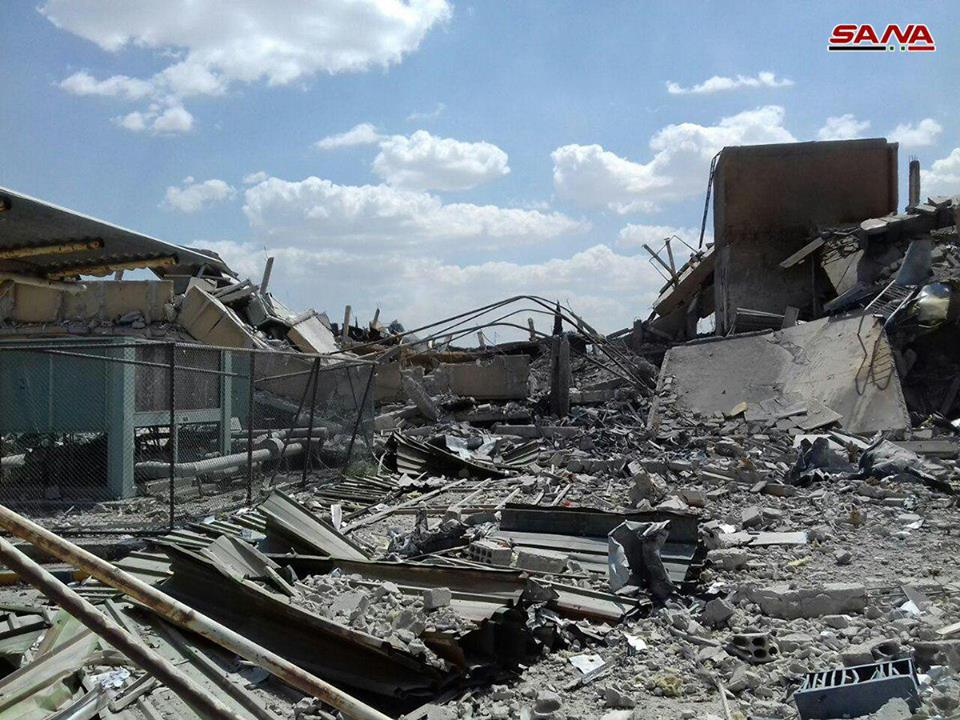 The ruins of what a Syrian scientist claims was a pharmaceutical research facility in Barzeh, Syria, after a Western air strike. Click to enlarge