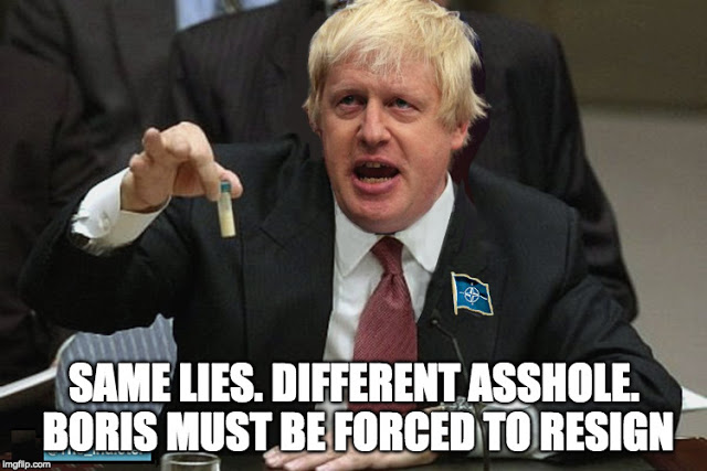 Boris Johnson test tube resign
