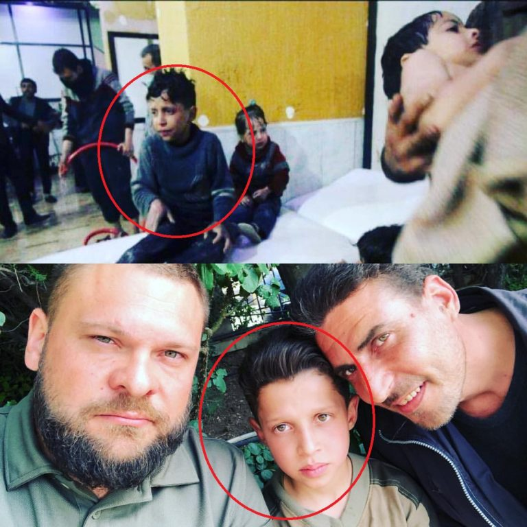 Hassan Diab during 'chemical attack' and after, reunited with his father.