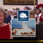 Looking pleased with herself, Theresa May and husband Philip. Click to enlarge