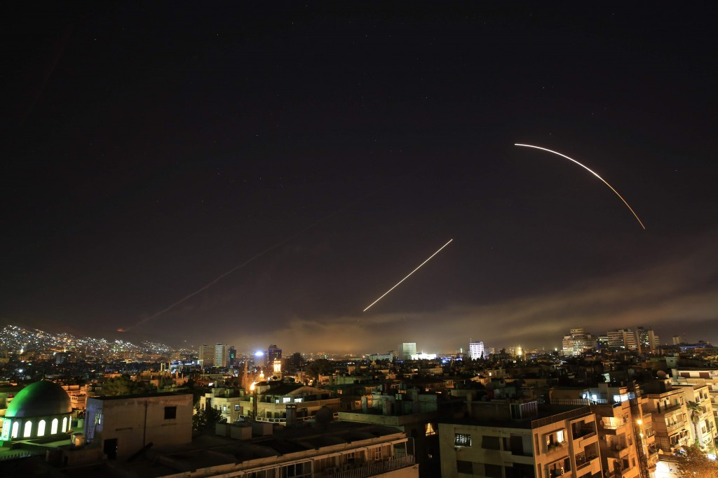Missiles over Damascus. Click to enlarge