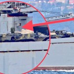 The Project 117 LST Orsk 148 ship loaded with military hardware en route to Syria. Click to enlarge