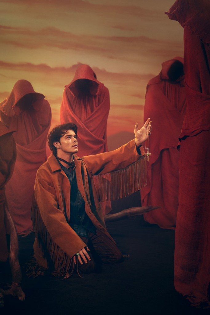 The stars of the series Stranger Things have been appearing in … stranger … things. This is Charlie Heaton in a Flaunt magazine photoshoot, where he's kneeling down and giving up a crucifix to a red hooded figure. How can this not represent initiation to the satanic industry? Click to enlarge