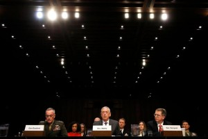 Joint Chiefs Chairman Gen. Joseph Dunford, left, Defense Secretary Jim Mattis, and Defense Under Secretary and Chief Financial Office David Norquist, testify on the Department of Defense budget posture, during a Senate Armed Services Committee hearing, Thursday April 26, 2018, on Capitol Hill in Washington. Click to enlarge