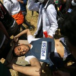 Yaser Murtaja was killed while covering protests on the Gaza border on Friday. Click to enlarge