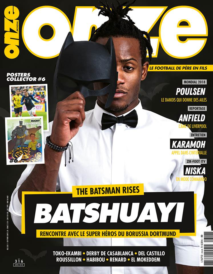 Speaking of the one-eye sign, it was everywhere last month (as usual). This is footballer Michy Batshuayi on the cover of French magazine Onze. And, of course, he's hiding one eye. The sign has to be everywhere. Click to enlarge