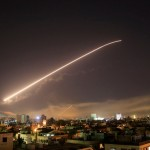 Syrian air defence missile over Damascus. Click to enlarge