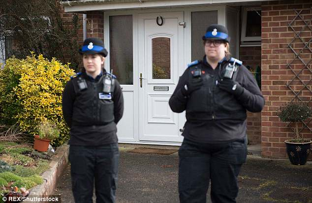 Police outside Segei Skripals home in Salisbury, Wiltshire. Click to enlarge