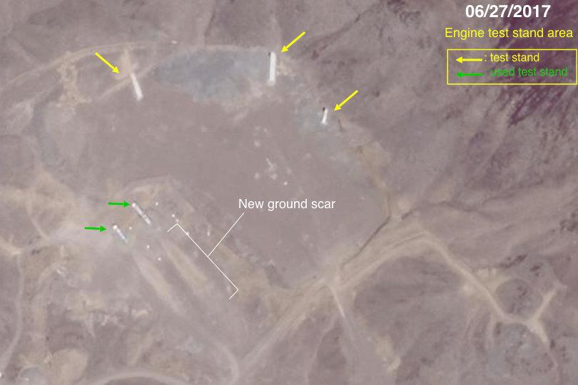 Researchers say they have found ground markings apparently left by rocket-engine tests at a crater near the Iranian facility.CreditDavid Schmerler/Center for Nonproliferation Studies. Click to enlarge