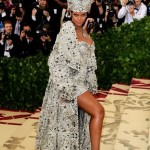 Long-time industry pawn Rihanna dressed as a silver pope.