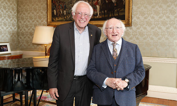 Another ultra-left cultural Marxist, Michael D. Higgins, won the 2011 Irish presidential election by a landslide, even though he was 19 points - yes 19 points! - behind in opinion polls conducted two days before the vote. Even more surprisingly, the RTE Teletext service, Eirtel, mistakenly published the exact margin of his victory before counting had begun. Seen with Bernie Sanders who had the 2016 Democratic nomination stolen from him in the primaries. Click to enlarge