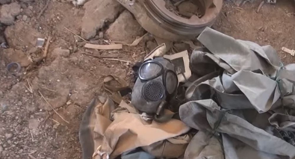 Chemical Weapons protective gear seized when a militant wharehouse was seized in the western province of Homs. Click to enlarge