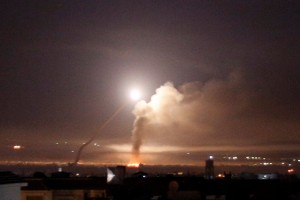Missile fire seen from Damascus early on Thursday morning. Click to enlarge