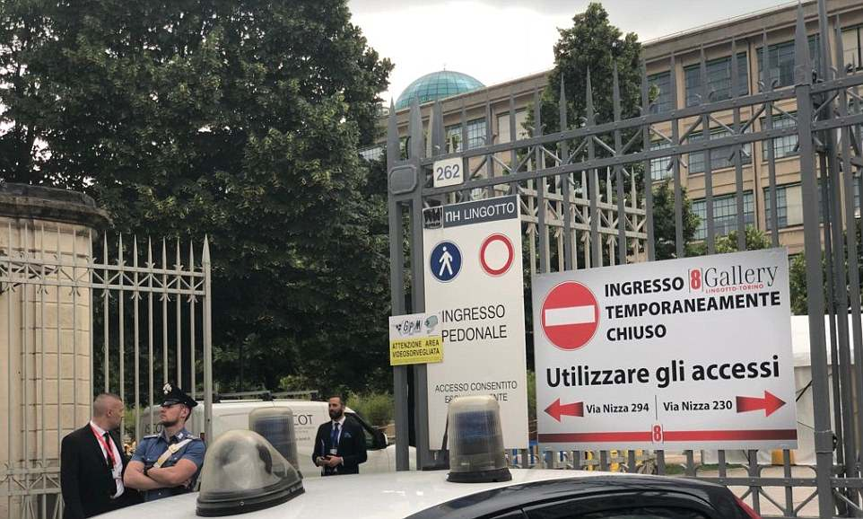 Bilderberg 2018: an unassuming entrance to the NH Lingotto hotel, where the secretive meeting convened. Click to enlarge