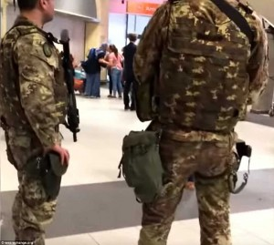 Armed police at Turin airport near where the Bilderberg 2018 meeting convened. Click to enlarge