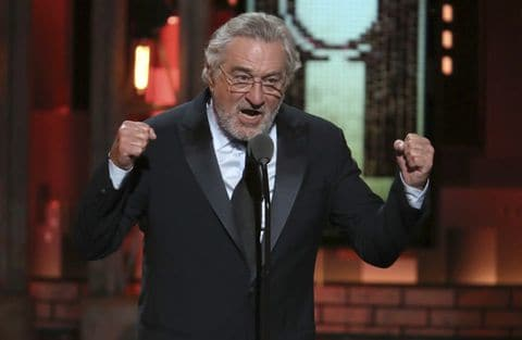 De Niro rails against Trump at a recent awards ceremony.