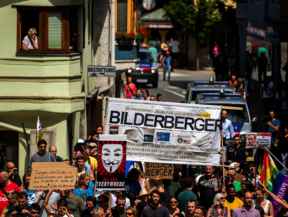 Demonstration against the Bilderberg conference in Telfs, Austria, June 2015. Click to enlarge