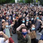 Liberal dupes -- almost all of them wearing facemasks against coronavirus like the gullible dupes they are. Click to enlarge