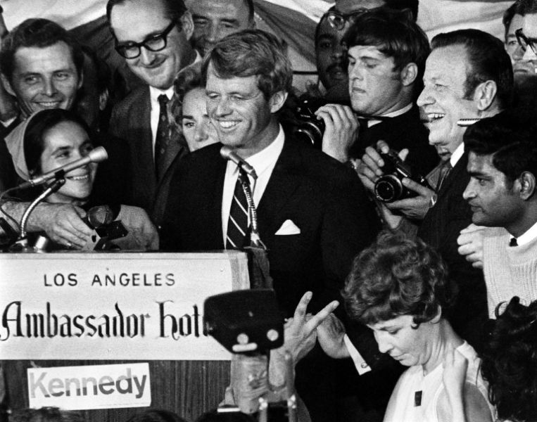 Sen. Robert F. Kennedy at the Ambassador Hotel shortly before he was ushered into the pantry where he was shot.