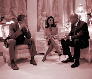 Senator Barack Obama, Archousai, Lisa Grain and Archon David Grain (Sarasota, Florida's Gamma Xi Boulé. Click to enlarge