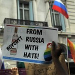 """Protest outside the Russian Embassy in New York in 2014 over what was seen as Moscow's """"anti-gay"""" legislation. Click to enlarge"""