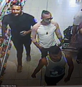 Suspects involved in acid attack caught on CCTV. Click to enlarge