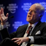 Henry Kravis at the Davos Forum. Close to John McCain, the founder of KKR is a member of the Council for Foreign Relations and the Bilderberg Group (of which his wife is an administrator). He employs General David Petraeus (ex-director of the CIA) with whom he organised the transfer of funds and weapons to Daesh. A long-term friend of Emmanuel Macron, he secretly financed his electoral campaign.