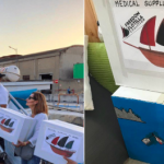 Medical supplies being loaded onto Al-Awda and boxes painted by artists in Naples. Italy. Click to enlarge