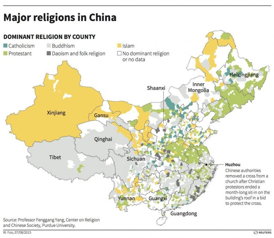 Major religions in China. Click to enlarge