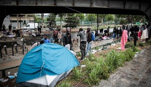 Migrant camp near Paris. Click to enlarge