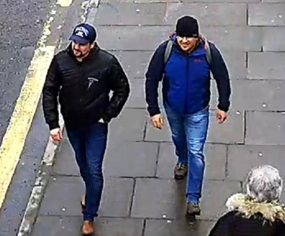 """Evil Russian"" poisoners Alexander Petrov and Ruslan Boshirov caught on CCTV in Salisbury. Click to enlarge"