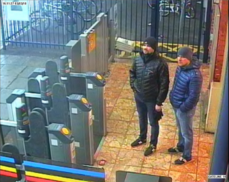 The pair were caught on CCTV at Salisbury train station shortly after 4pm on March 3, the day before Mr Skripal was poisoned. Scotland Yard believe they came to the town to carry out a reconnaissance mission. Click to enlarge