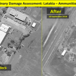 Ammunition warehouse destroyed by Israeli strike. Click to enlarge